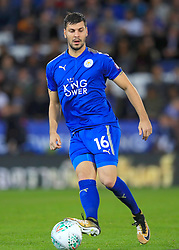 """Leicester City's Tom Lawrence during the Carabao Cup, Fourth Round match at the King Power Stadium, Leicester. PRESS ASSOCIATION Photo. Picture date: Tuesday October 24, 2017. See PA story SOCCER Leicester. Photo credit should read: Mike Egerton/PA Wire. RESTRICTIONS: EDITORIAL USE ONLY No use with unauthorised audio, video, data, fixture lists, club/league logos or """"live"""" services. Online in-match use limited to 75 images, no video emulation. No use in betting, games or single club/league/player publications."""