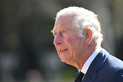 The Prince of Wales visits the gardens of Marlborough House, London, to view the flowers and messages left by members of the public outside Buckingham Palace following the death of the Duke of Edinburgh on April 10. Picture date: Thursday April 15, 2021.