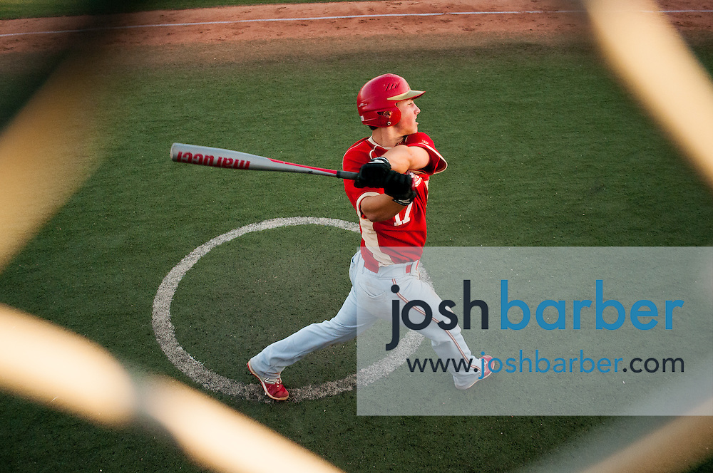 Orange Lutheran's Jake Hansen (17) on deck circle during a Trinity League game at Mater Dei High School on Friday, May 1, 2015 in Santa Ana, Calif. (Photo/Josh Barber)