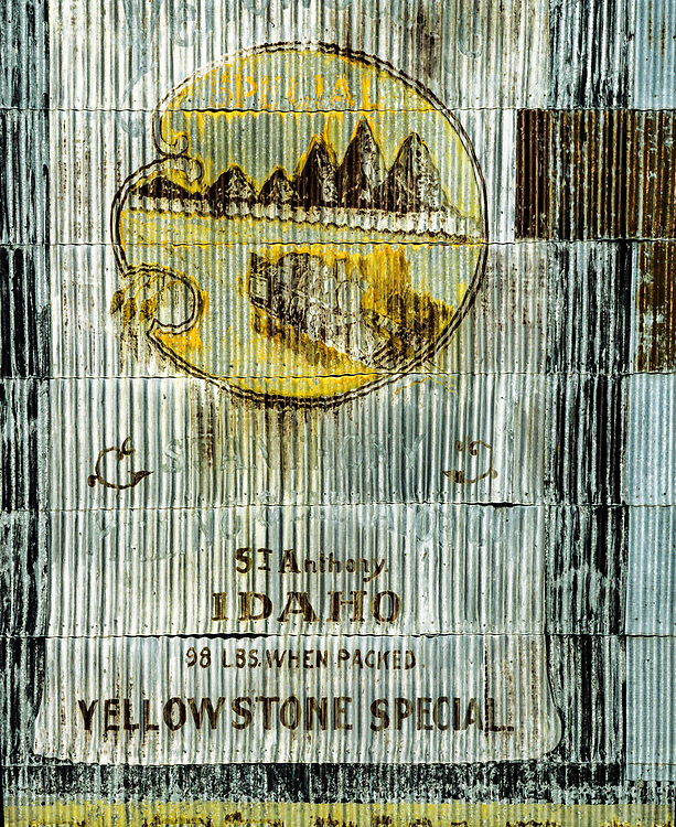 Open Edition Print<br /> Old storage elevator in Eastern Idaho with Potato Brand Sign painted on Corrugated Metal Siding