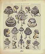 Ancient European fashion and lifestyle, hair styles 15th - 16th century from Geschichte des kostums in chronologischer entwicklung (History of the costume in chronological development) by Racinet, A. (Auguste), 1825-1893. and Rosenberg, Adolf, 1850-1906, Volume 3 printed in Berlin in 1888