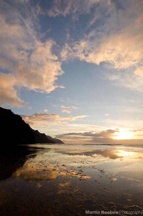 Sunset at Ke'e Beach and the Na Pali Coast, Kauai, Hawaii