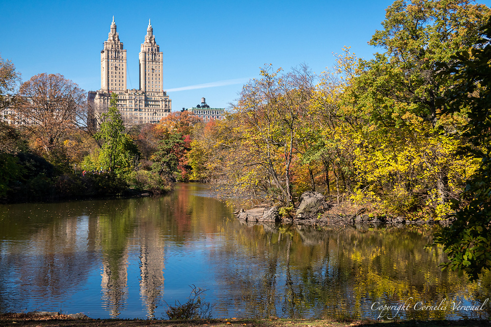 The San Remo apartment towers seen over The Lake in Central Park.