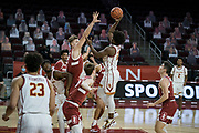 Southern California Trojans guard Ethan Anderson (20) shoots a floater over Stanford Cardinal forward Lukas Kisunas (32) during an NCAA men's basketball game, Wednesday, March 3, 2021, in Los Angeles. USC defeated Stanford 79-42. (Jon Endow/Image of Sport)
