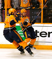 NASHVILLE, TN - MAY 07:  Filip Forsberg #9 and Viktor Arvidsson #38  of the Nashville Predators react after after a goal by teammate Ryan Johansen scoring  against the St. Louis Blues in the third period of Game Six of the Western Conference Second Round during the 2017 NHL Stanley Cup Playoffs  at Bridgestone Arena on May 7, 2017 in Nashville, Tennessee.  (Photo by Frederick Breedon/Getty Images)