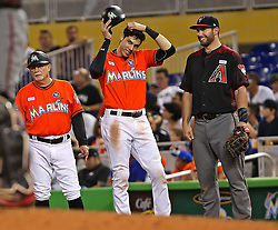 June 4, 2017 - Miami, FL, USA - Miami Marlins' Christian Yelich reaches first base on a catcher's interference in the fifth inning against the Arizona Diamondbacks on Sunday, June 4, 2017 at Marlins Park in Miami, Fla. (Credit Image: © Patrick Farrell/TNS via ZUMA Wire)