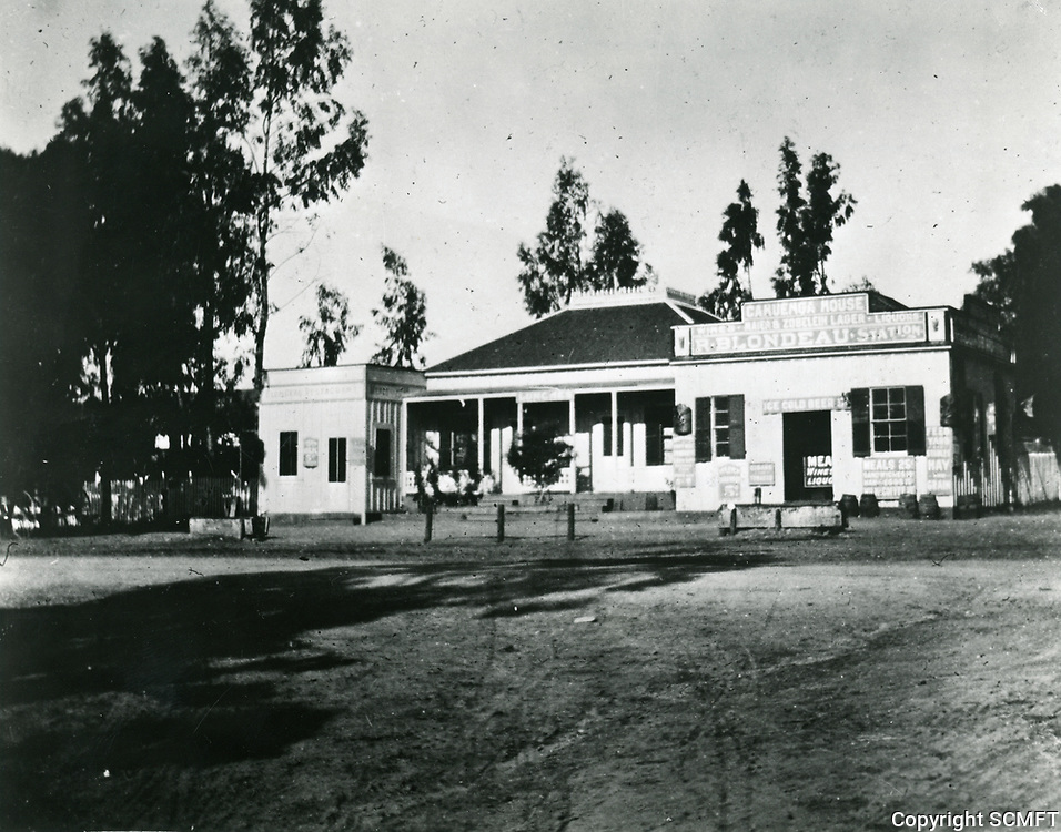 1890 Cahuenga House also known as Blondeau Tavern on NW corner of Sunset Blvd. & Gower St. This became the site of the Nestor Film Co., the first motion picture studio in Hollywood