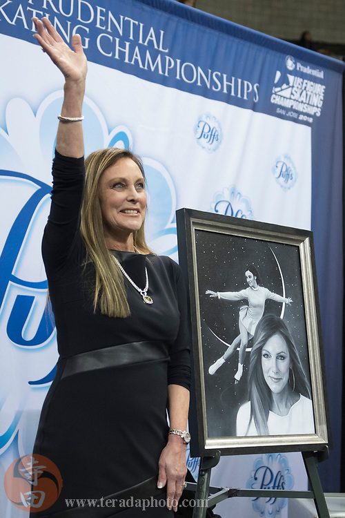 January 3, 2018; San Jose, CA, USA; Peggy Fleming waves to the crowd during the 2018 U.S. Figure Skating Championships at SAP Center.