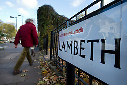 ©  London News Pictures.  22/11/2013. A road sign in the Borough of Lambeth, South London. Police have rescued three women from a house in Lambeth who were being held as slaves for 30 years. A couple, both aged 67, who were detained yesterday have been freed on bail. Photo credit : Ben Cawthra/LNP