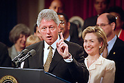 President Bill Clinton during an event to promote his proposals to help stop gun related killings like those at Columbine High School during an event along with members of Congress at the White House April 27, 1999 in Washington, DC