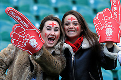 England fans prior to kick-off during the Guinness Six Nations match at Twickenham Stadium, London.