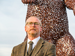 Dunbar, East Lothian, Scotland, United Kingdom, 19 November 2019. Andy Scott statue unveiling: Unveiling today of a 5m high bear sculpture to celebrate the life of naturalist John Muir. The sculpture by the Kelpies creator Andy Scott marks Dunbar-born John Muir who played a key role in the development of national parks in the US. Pictured: Andy Scott, sculptor.<br /> Sally Anderson | EdinburghElitemedia.co.uk