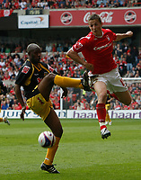 Photo: Steve Bond/Richard Lane Photography. <br />Nottingham Forest v Yeovil Town. Coca-Cola Football League One. 03/05/2008. Chris Cohen (R) and incoming Terrell Forbes (L)