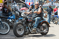 Backwards Shovelhead (No I didn't flop the image - just look at the Panhead in the background!) from Buffalo, New York at the Cycle Source Show at the Iron Horse Saloon during the annual Sturgis Black Hills Motorcycle Rally. Sturgis, SD. USA. Thursday August 10, 2017.  Photography ©2017 Michael Lichter.