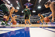 April 2, 2016; Indianapolis, Ind.; Assistant coach Shaina Afoa watches the post players dribble during their practice session at Bankers Life Fieldhouse.