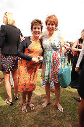 Asprey World Class Cup polo held at Hurtwood Park Polo Club, Ewhurst, Surrey on 17th July 2010.<br /> Picture shows:- Left to right, RUBY WAX and KATHY LETTE.