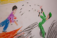 Drawings by Syrian children at a school in Gaziantep, southern Turkey. Drawing is a useful activity to help children express their feelings, often used by psychologists to analyse mental health. 12/12/2012 Bradley Secker for the Washington Post