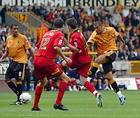 Photo: Kevin Poolman.<br />Wolverhampton Wanderers v Colchester United. Coca Cola Championship. 14/10/2006. Wolves striker Jay Bothroyd hits the bar from this free kick.