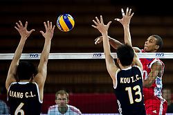14.09.2014, Centennial Hall, Breslau, POL, FIVB WM, Kuba vs China, 2. Runde, Gruppe F, im Bild Chunlong Liang china #6 Zhichao Kou 1china #13 Osmany Santiago Uriarte Mestre cuba #20 // Chunlong Liang china #6 Zhichao Kou 1china #13 Osmany Santiago Uriarte Mestre cuba #20 during the FIVB Volleyball Men's World Championships 2nd Round Pool F Match beween Cuba and China at the Centennial Hall in Breslau, Poland on 2014/09/14. EXPA Pictures © 2014, PhotoCredit: EXPA/ Newspix/ Sebastian Borowski<br /> <br /> *****ATTENTION - for AUT, SLO, CRO, SRB, BIH, MAZ, TUR, SUI, SWE only*****