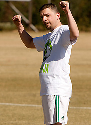 Jernej Suhadolnik celebrates during friendly match between Slovenian football journalists and officials of Slovenian football federation at  Hyde Park High School Stadium on June 16, 2010 in Johannesburg, South Africa.  (Photo by Vid Ponikvar / Sportida)