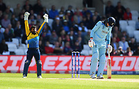 Cricket - 2019 ICC Cricket World Cup - Group Stage: England vs. Sri Lanka<br /> <br /> England's Joe Root given out after a DRS review, caught behind by Sri Lanka's Kusal Perera off the bowling of Sri Lanka's Lasith Malinga, at Headingley, Leeds<br /> <br /> COLORSPORT/ASHLEY WESTERN