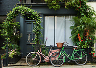 Two bikes in front of an asian store