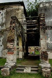 April 24, 2018 - Madiun, East Java, Indonesia - Visitors while observing the historic old building diarea former headquarters of General Van Den Bosch or better known Pendem Ngawi Fort (Credit Image: © Pacific Press via ZUMA Wire)