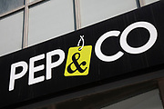 Sign for the pound shop and discount brand Poundlands clothing line Pep & Co. in Birmingham, United Kingdom.