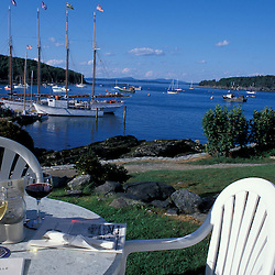 The Terrace Grill restaurant at the Bar Harbor Inn and its view of the Porcupine Islands.
