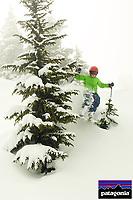 Russell Laman (age 11) skiing fresh powder snow at Blackcomb Mountain, BC