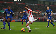 Joe Allen of Stoke City prepares to shoot past Wes Morgan of Leicester City during the English Premier League match at the Bet 365 Stadium, Stoke on Trent. Picture date: December 17th, 2016. Pic Simon Bellis/Sportimage