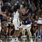 STORRS, CONNECTICUT- NOVEMBER 17: Crystal Dangerfield #5 of the UConn Huskies is congratulated by team mates during the UConn Huskies Vs Baylor Bears NCAA Women's Basketball game at Gampel Pavilion, on November 17th, 2016 in Storrs, Connecticut. (Photo by Tim Clayton/Corbis via Getty Images)