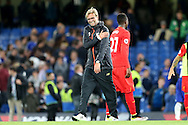 Jurgen Klopp, the Liverpool manager celebrates his teams win after the final whistle. Premier league match, Chelsea v Liverpool at Stamford Bridge in London on Friday 16th September 2016.<br /> pic by John Patrick Fletcher, Andrew Orchard sports photography.