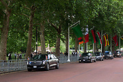 On the first day of the state visit by US President Donald Trump his presidential motorcade drives along Horse Guards Road on 3rd June 2019 in London, United Kingdom.