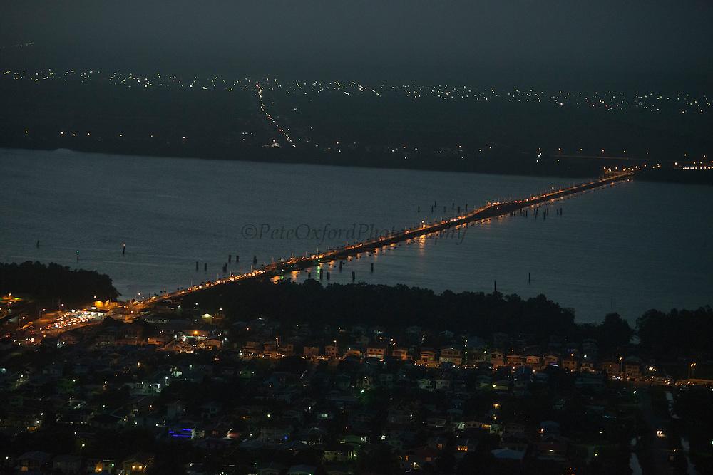Demerara Harbour Bridge <br /> crossing the Demerara River. The bridge is the longest floating pontoon bridge in the world.<br /> Georgetown<br /> GUYANA<br /> South America