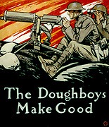 The Doughboys Make Good', 1917.    Edward Penfield (1866-1925) American artist and illustrator. American soldiers in World War I operating a machine gun on the battlefield. Cover for 'Collier's' magazine, 10 August 1918. United States