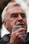 Shadow Chancellor John McDonnell addresses thousands of students attending a National Demonstration for a Free Education on 4th November 2015 in London, United Kingdom. The demonstration was organised by the National Campaign Against Fees and Cuts NCAFC in protest against tuition fees and the Government's plans to axe maintenance grants from 2016.