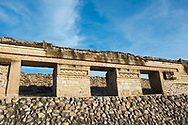 Mesoamerican architecture at archeological site in Mitla, Oaxaca state, Mexico