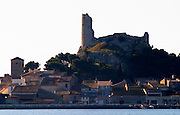 Gruissan village. La Clape. Languedoc. The ruins of a chateau fortress. France. Europe.