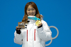 February 18, 2018 - Pyeongchang, South Korea - CHOI MIN-JEONG of Korea celebrates getting the gold medal in the Ladies' 1500m Short Track speed skating event in the PyeongChang Olympic Games. (Credit Image: © Christopher Levy via ZUMA Wire)