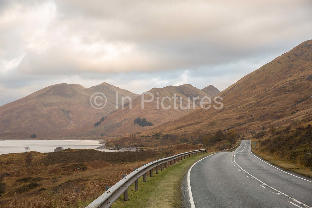 The A87 trunk road overlooking Loch Garry on the 4th November 2018 in Invergarry in the United Kingdom.