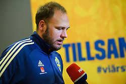 November 20, 2018 - Stockholm, SWEDEN - 181120 Andreas Granqvist of Sweden in the mixed zone after the Nations League football match between Sweden and Russia on November 20, 2018 in Stockholm  (Credit Image: © Simon HastegRd/Bildbyran via ZUMA Press)