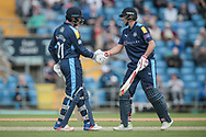 Joe Root (Yorkshire CCC) congratulates Jonny Bairstow (Yorkshire CCC) on reaching his half century during the Royal London 1 Day Cup match between Yorkshire County Cricket Club and Durham County Cricket Club at Headingley Stadium, Headingley, United Kingdom on 3 May 2017. Photo by Mark P Doherty.