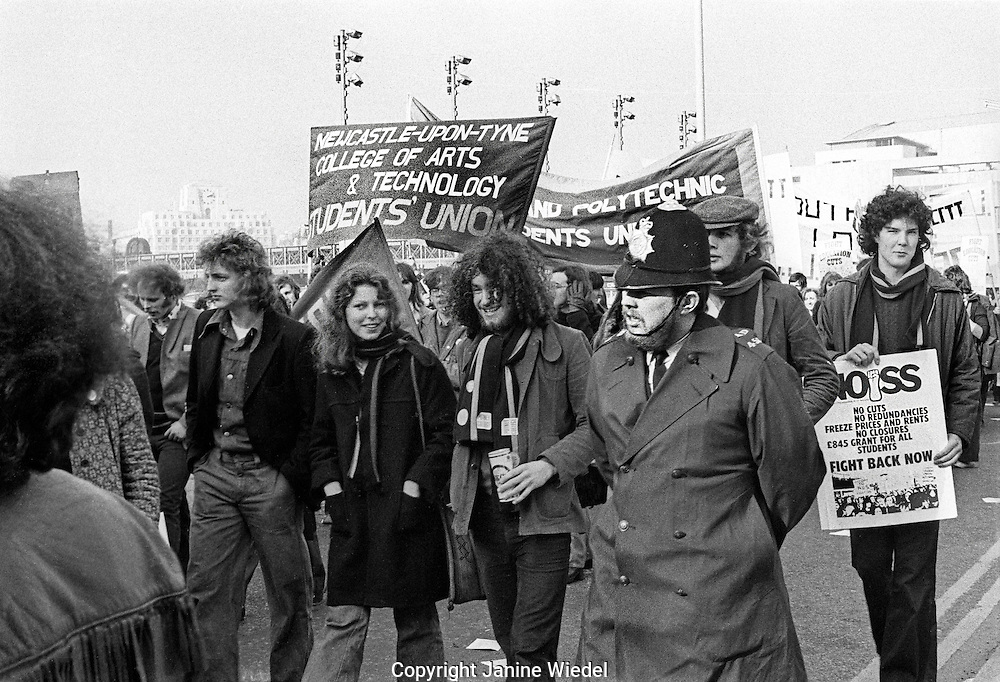 Students march through London protesting against  cuts to student grants 1975