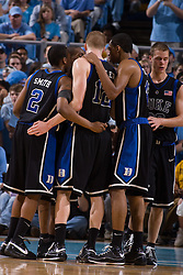 06 February 2008: Duke Blue Devils guard Nolan Smith (2), forward Kyle Singler (12) and forward Lance Thomas (42) during a 89-78 win over the North Carolina Tar Heels at the Dean Smith Center in Chapel Hill, NC.