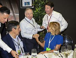 (L-R) Francois Fillon, Jean Todt, Christian Estrosi, Laura Tenoudji-Estrosi pose at vip restaurant during the Grand Prix de France 2018, Le Castellet on June 23rd, 2018. Photo by Marco Piovanotto/ABACAPRESS.COM