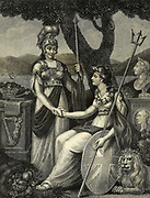 Illustrating the Union of Ireland and Great Britain. Britannia takes Hibernia by the hand in a token of sincere friendship Copperplate engraving of the frontispiece From the Encyclopaedia Londinensis or, Universal dictionary of arts, sciences, and literature; Volume XI;  Edited by Wilkes, John. Published in London in 1812