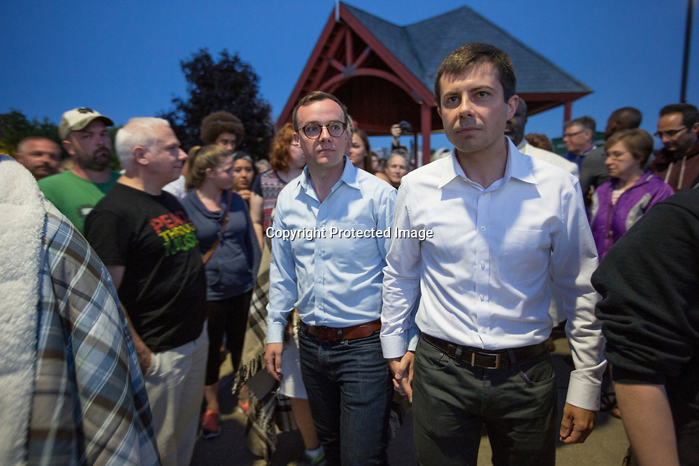 12/14/2016: South Bend Mayor Pete Buttigieg arrives with his partner Chasten Glezman at a vigil to remember those killed in an attack at a gay dance club in Orlando, Fla. POLITICO is reporting that Buttigieg is considering a run to lead the<br /> Democratic National Committee. Tribune File Photo/SANTIAGO FLORES<br /> <br /> 6/19/2016: South Bend Mayor Pete Buttigieg and partner Chasten Glezman arrive hand-in-hand at a recent vigil for the victims of the Orlando attack. Tribune Photo/SANTIAGO FLORES <br /> <br /> South Bend mayor Pete Buttigieg walks with his partner Chasten Glezman toward the Riverlights as they are cycle through the colors of the rainbow during a vigil to remeber those that were killed in Orlando Florida. Tribune Photo/SANTIAGO FLORES