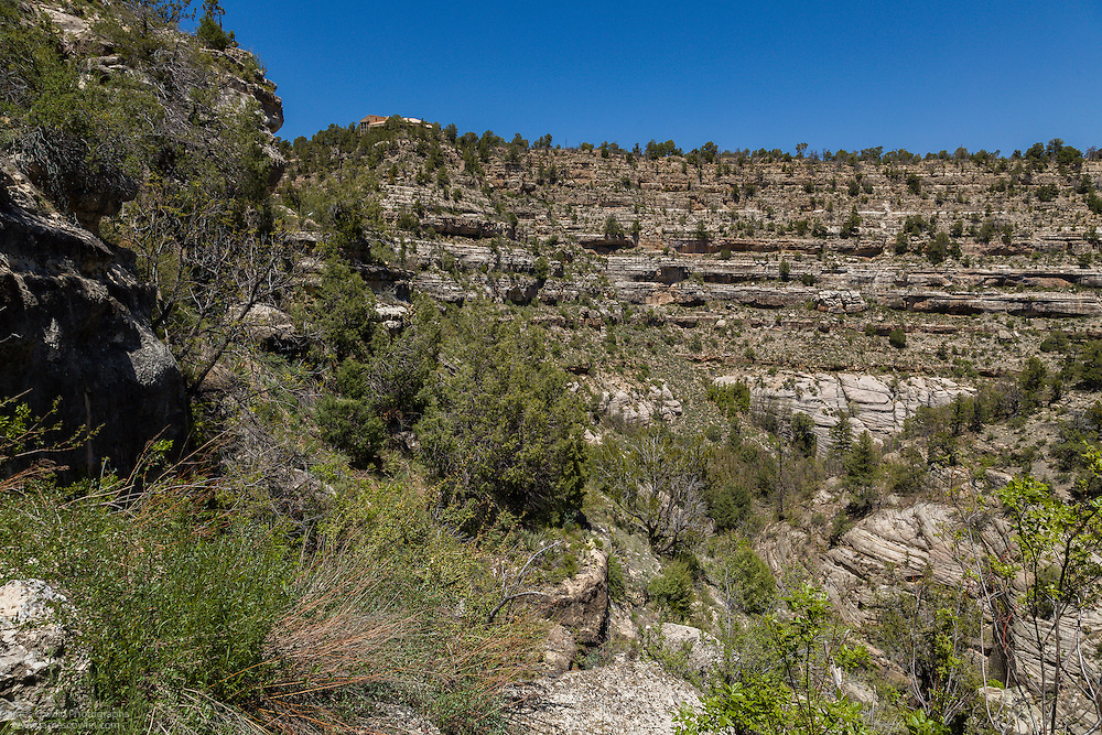 View of the visitors' center from the Island Trail in Walnut Canyon National Monument