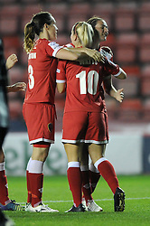 Bristol Academy Womens' Natalia Pablos Sanchon celebrates with his team mates after scoring. - Photo mandatory by-line: Dougie Allward/JMP - Mobile: 07966 386802 - 16/10/2014 - SPORT - Football - Bristol - Ashton Gate - Bristol Academy v Raheny United - Women's Champions League